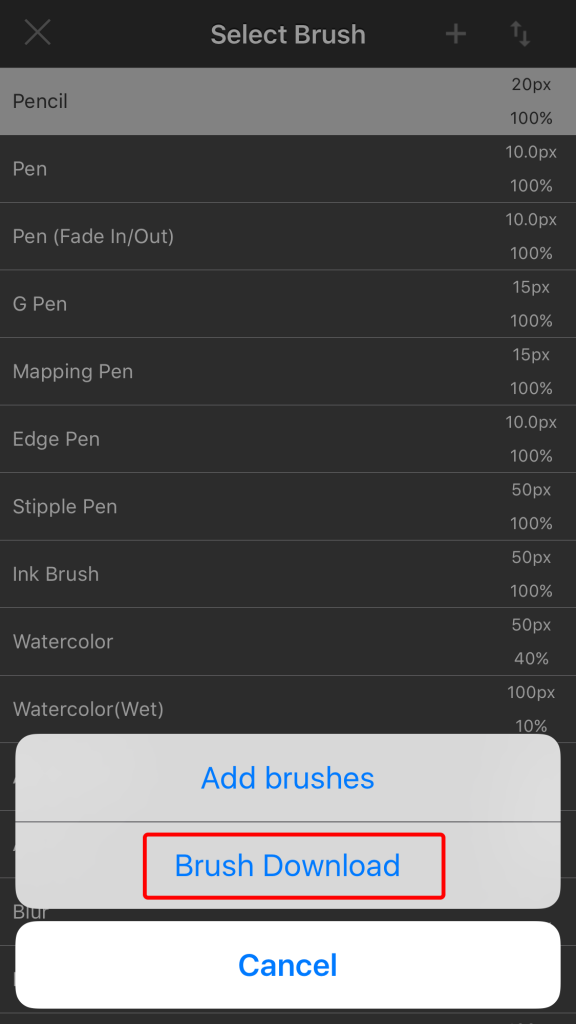 Downloading Cloud Brushes in MediBang Paint iPhone | MediBang Paint