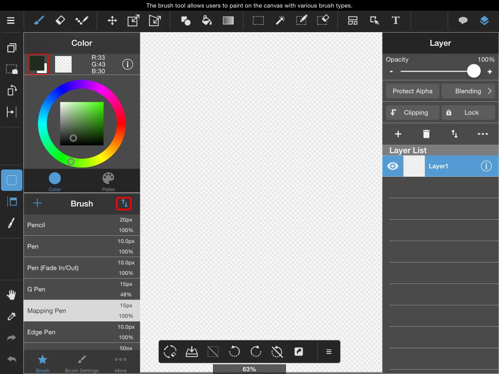 downloading cloud brushes in medibang paint ipad