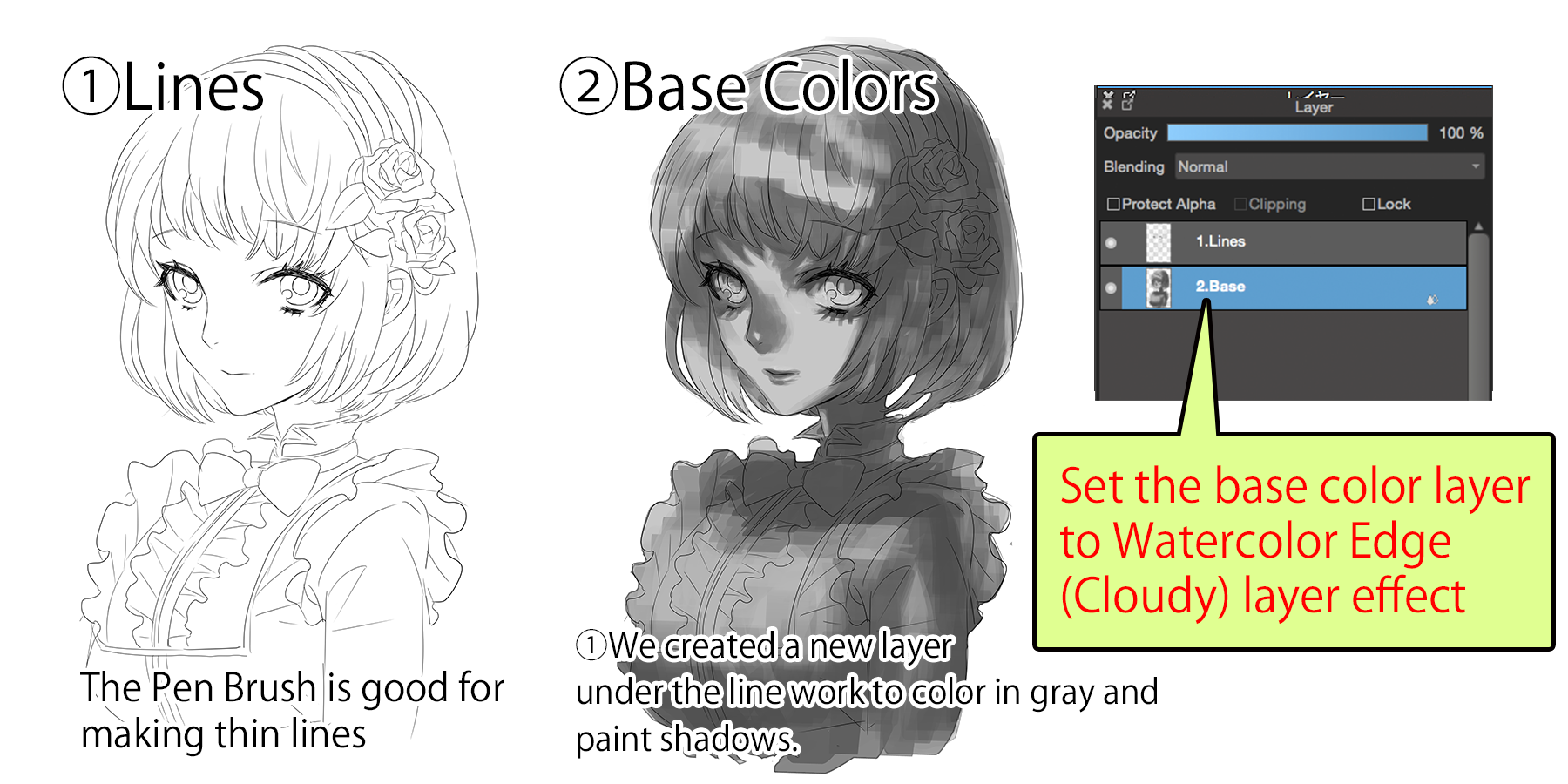 Grayscale Coloring With Watercolor Edge Medibang Paint