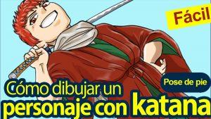 ¡Fácil!  Cómo dibujar un personaje de pie posando con una katana (espada de samurái)