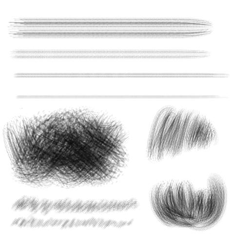 擦痕毛笔(淡水墨)