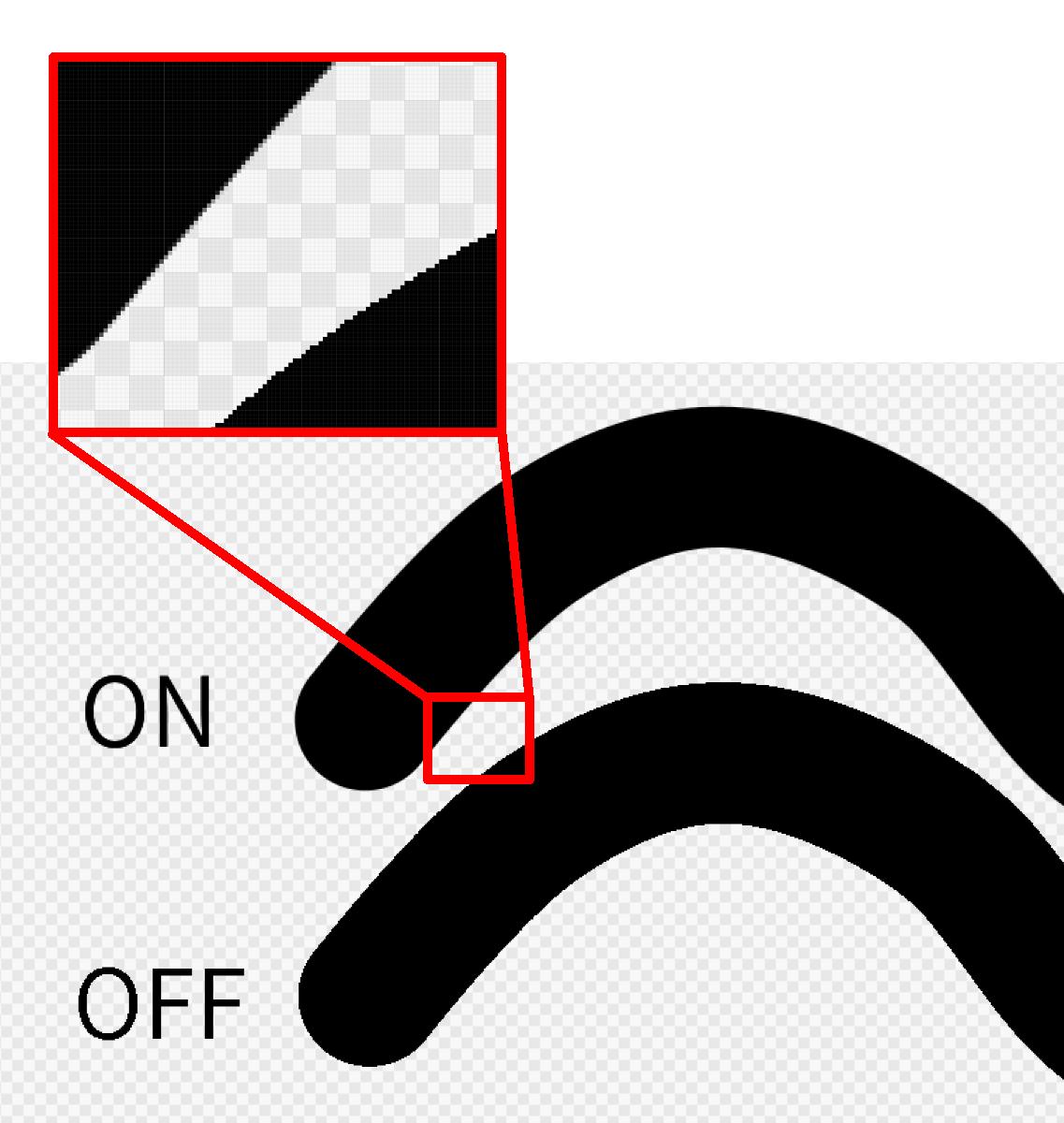 Diferencia de línea debido a la presencia / ausencia de suavizado