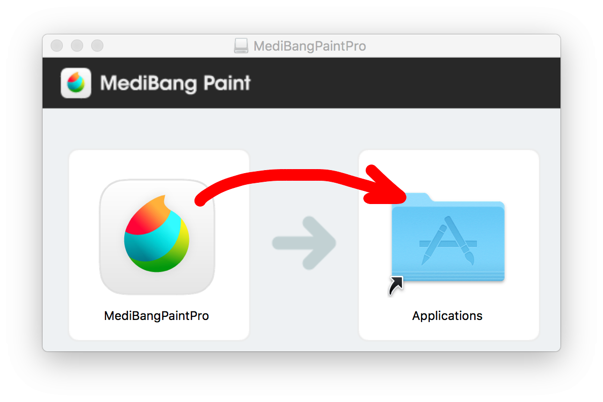 Drag and drop MediBangPaintPro icon onto Applications
