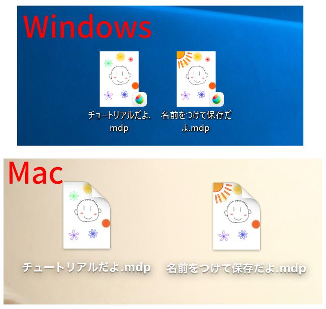 デスクトップに保存されたmdpファイル