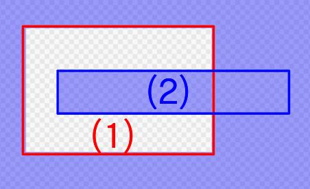 (1)の選択範囲に対してCtrlを押しながら(2)の選択範囲を作ったとき