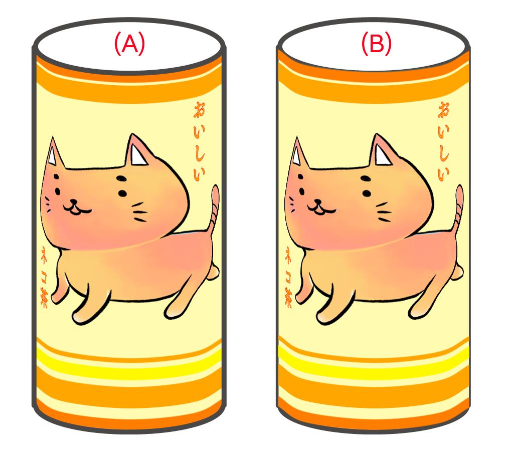 (A)線画が上 / (B)線画が下