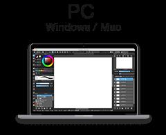 メディバンペイントPC Windows / Mac用アプリの製品情報を見る