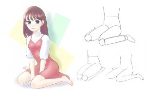 ペタン座り(女の子座り)の描き方