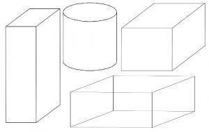立方体と円柱の描き方